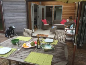 Exterior dining area for the lodges