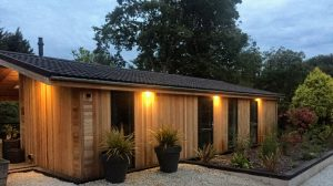 Lodges in the evening